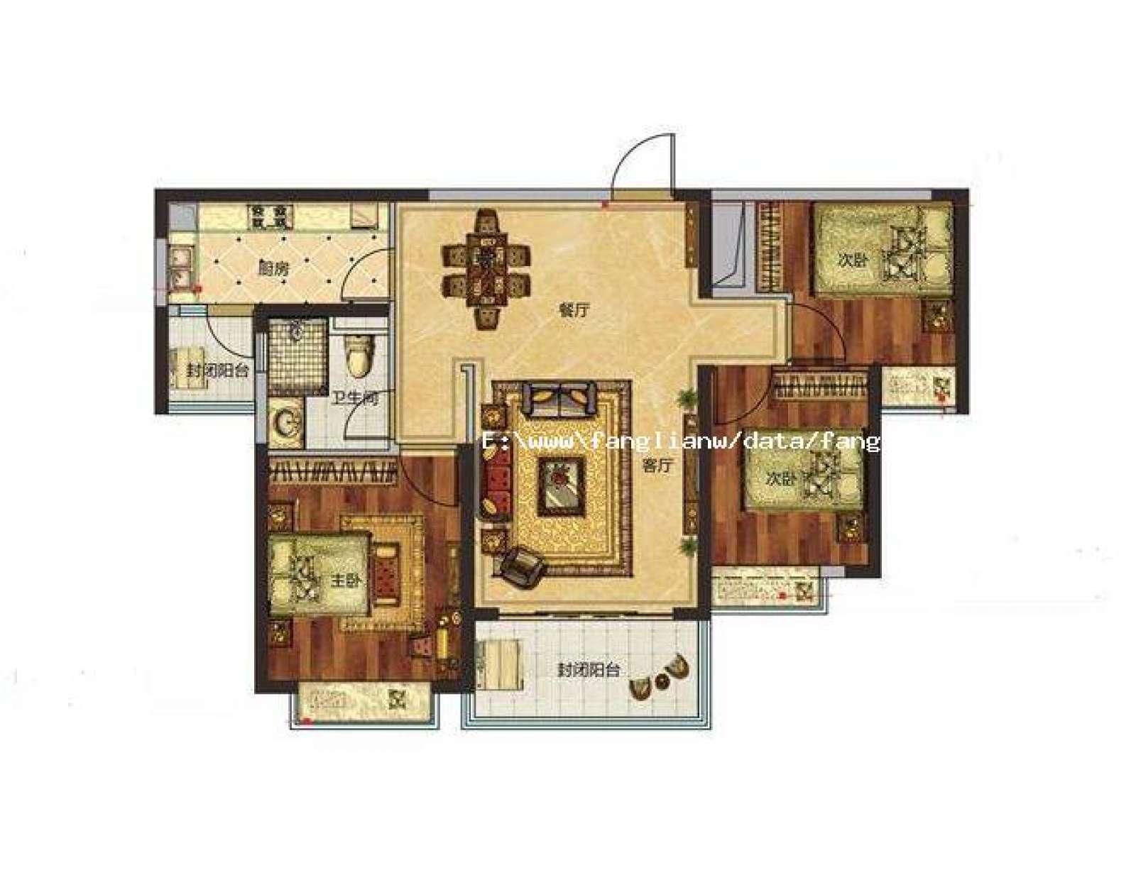 恒大江湾 3室2厅116㎡