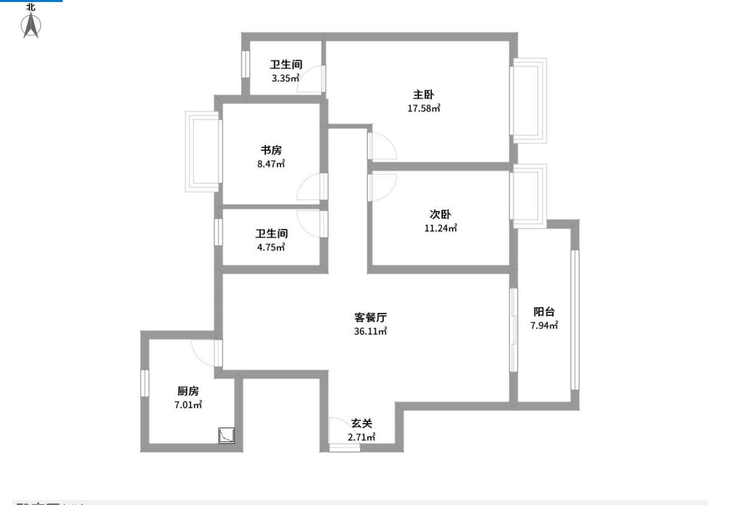 龙庭花园 3室2厅123㎡
